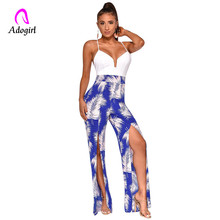 Yellow Floral Print Jumpsuit Vintage High Slit Women Halter Rompers Sexy V Neck Backless Jumpsuit Casual Wide Leg Pants Overalls plunge floral print side slit jumpsuit