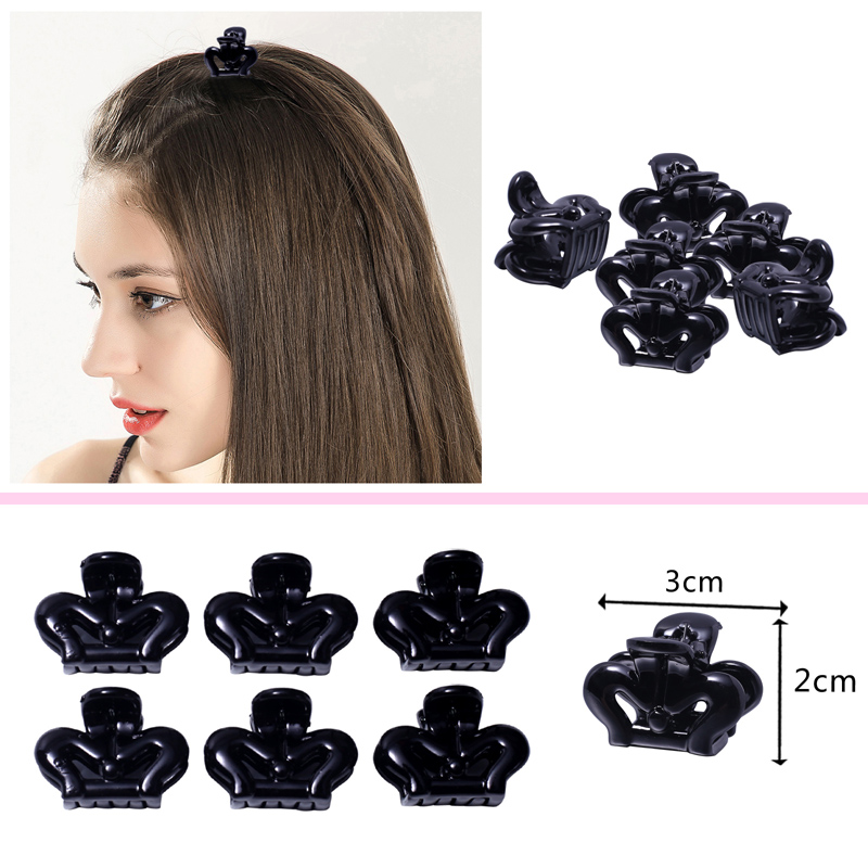 12pcs Black Hair Claws Hair Accessories Small Grip Paw Hairpin Plastic Basics Bobby Pins For Ladies Girls 3cm Hair Clip Barrette Girl's Accessories