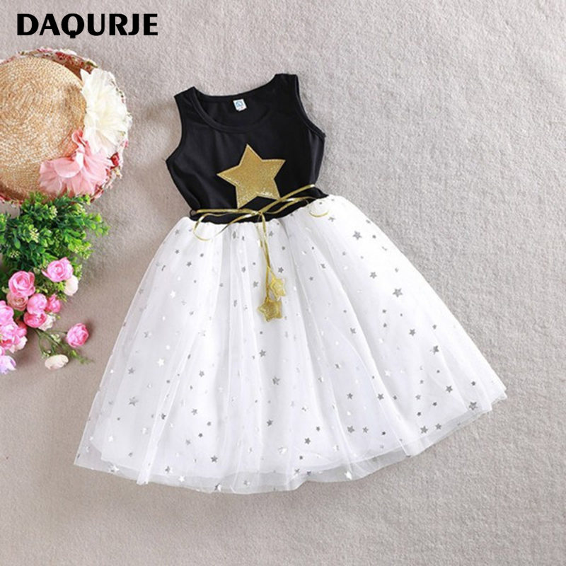 DAQURJE Summer Girls Dress Casual Sleeveless Sequin Star Kids Dresses For Girls 3-10Y Mesh Tutu Princess Dress Children Clothes стоимость