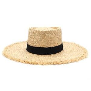 Оптовая продажа Новый ремень рафия соломенные летние солнцезащитные козырьки шляпы для женщин женские складные модные шляпы ручной работы с широкими полями Панама пляжная шляпа