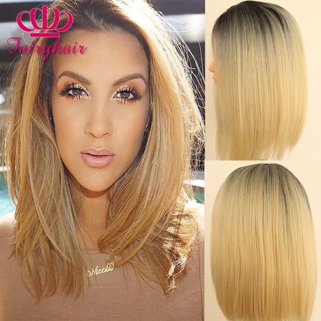 Cheap ombre dark brown/blonde short Bob wigs with baby hair synthetic lace front wig heat resistant lace wigs for black women