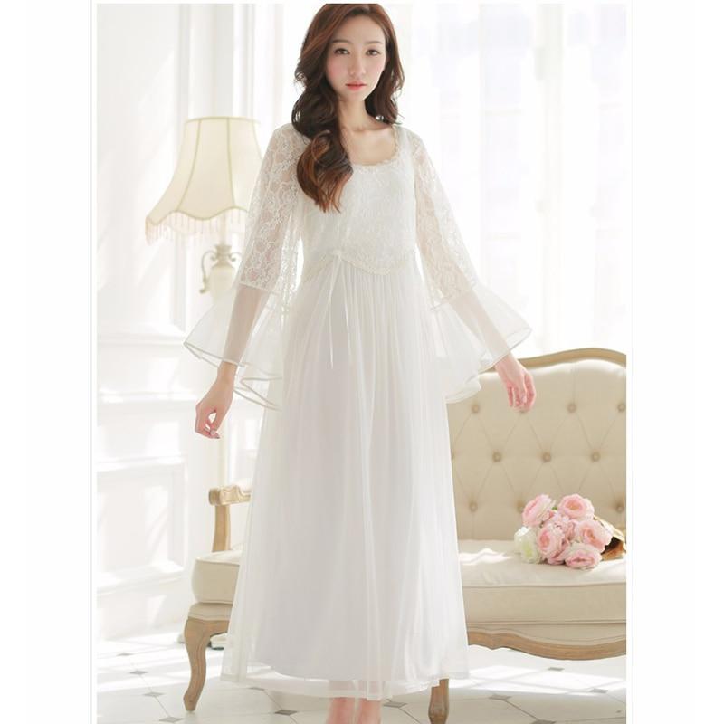buy Women Nightgowns White Princess Long Pijama Sleepwear Mesh Long-Sleeved  Royal Vintage Lace Nightdress Sleeping Dress s15005 75c097893