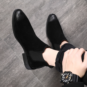 Image 4 - 2019 vintage men booties Genuine Leather Chelsea Boots suede Ankle Boot Mens Fashion Spring Autumn Boots Slip on Shoes zapatos