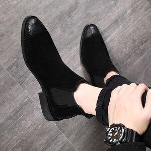 Image 4 - 2019 בציר גברים נעלי עור אמיתי צ לסי מגפי זמש קרסול אתחול גברים של אופנה אביב סתיו מגפיים להחליק על נעליים zapatos