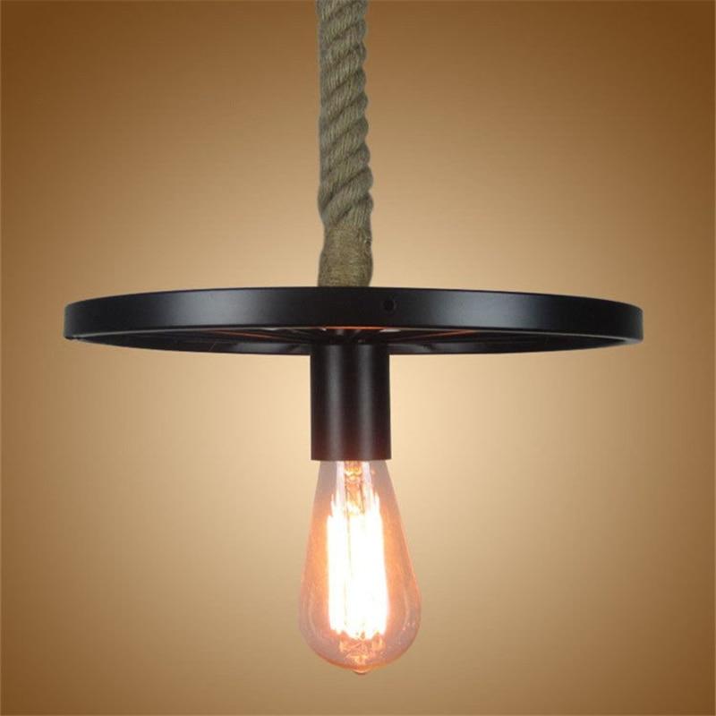 Rétro industrielle fer roue noir suspension lampe classique Loft E27 chanvre corde pendentif lumières pour Restaurant bar salle à manger salon