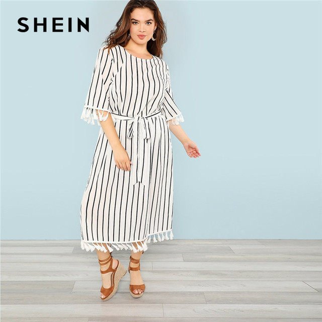 d85099e071 SHEIN Black And White Striped Belted Plus Size Womens Straight Fringe Dress  2018 Office Lady Elegant