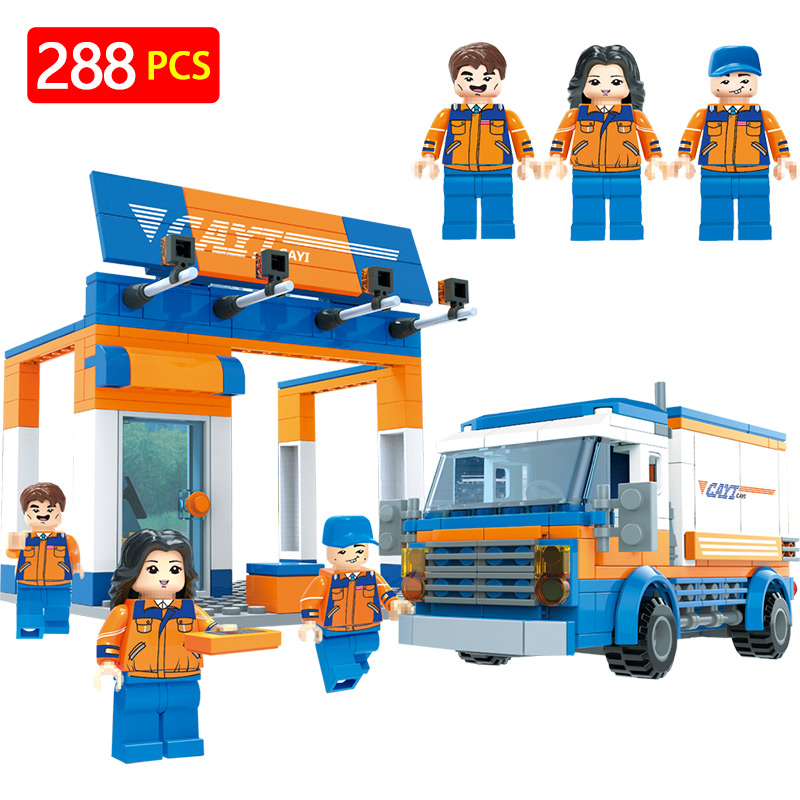 New Technic Building Block Compatible LegoINGLYS City Courier TOWN Street View CAYI Express Set Bricks DIY Enlighten Gift Toy free shipping plate 4x6 diy enlighten block bricks compatible with assembles particles