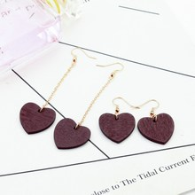 Japanese and Korean Simple Fashion Web Celebrity Personality Earrings Red Love Wooden Pendant Girl