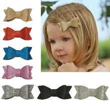 3 Inch Glitter Hair Bow Boutique Bling Bling Hair Clip Girl Glitter Hairpin Cute Hairclip girls Hair Accessories