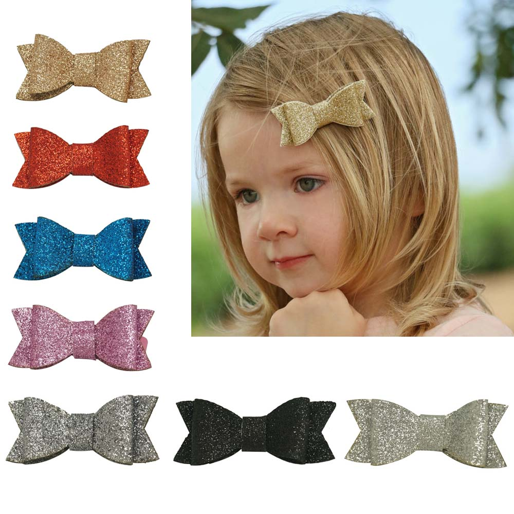 3 Inch Glitter Hair Bow Boutique Bling Bling Hair Clip Girl Glitter Hairpin Cute Hairclip girls Hair Accessories pretty girls boutique shining glitter bow hair bands for dance party children toddler hair accessories