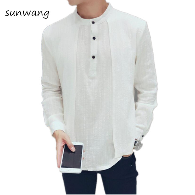 6dc57255bf 2019 Fake 2 pcs Irregular White Dress Western Mens Linen Shirts Men Casual  Korean Luxury Designer