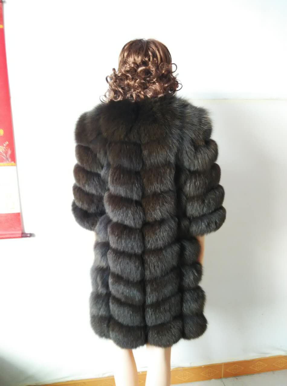Longueur Chaud Ang Qualité Di Longue Renard Hiver Amovible Vraie Li De Mode Image Manteaux Haute Manches Fourrure Gilet Jin Réel Manteau AOZ1qw7
