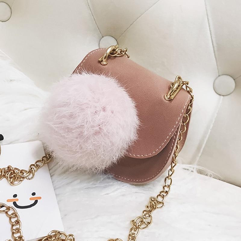 Cute Children Handbag Girls Bags Fashion Baby PU Leather Shoulder Bags Candy Coin Purse Wallet Toddler Hairball Metal Chain Ba
