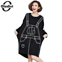 Oladivi 2017 Spring Long Batwing Sleeve Casual Dresses Women Novelty 3D Pattern Print Punk Loose Knee