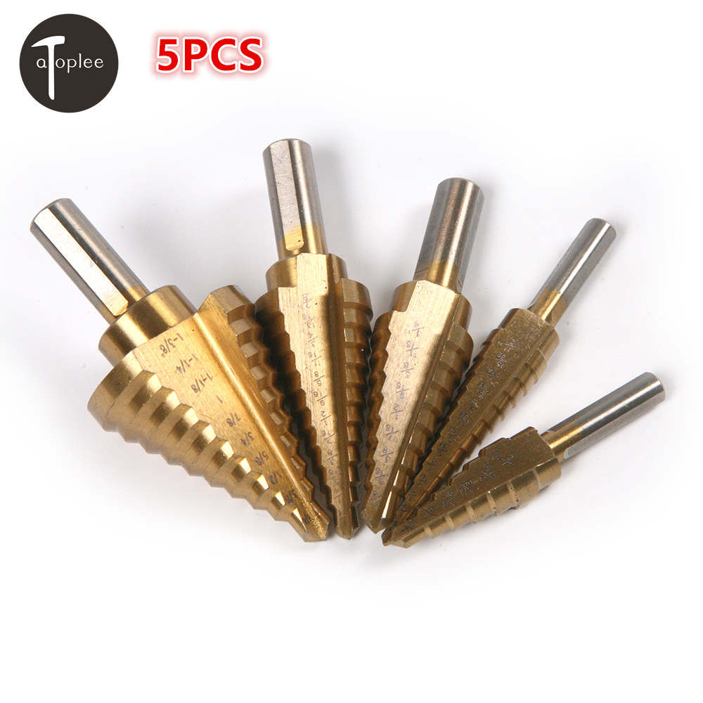 3PCS HSS 3/16-1/4-1/2-11/8 Inch Triangle Shank Titanium Coated Step Drill Bit For Hole Cutter Metal Wood Power Tool 1x 1 4 to 1 3 8 titanium step drill bit hss cobalt unibit tool for sheet metal drilling tools