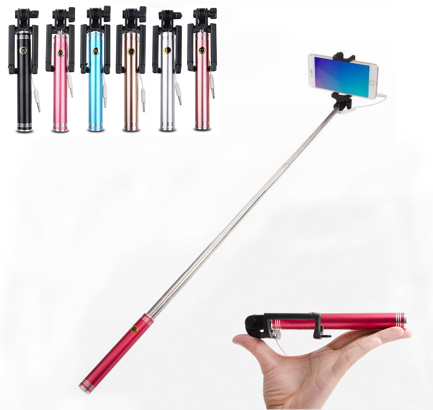 Көпқабатты портативті Extendable Handheld Monopod Mini Wired Selfie Stick үшін Huawei Iphone 6 6s 7 Samsung Android телефондары