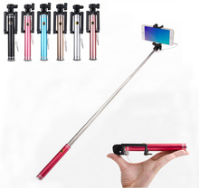 High quality Portable Extendable Handheld Mini Multicolor Wired Selfie Stick for Iphone samsung Android Smartphone