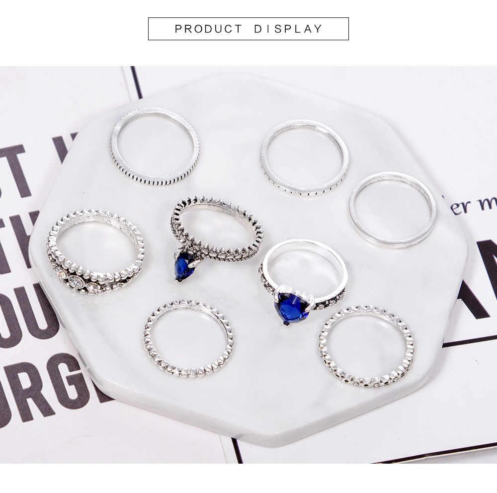 WLP 8 ชิ้น/เซ็ต Vintage ทิเบตตุรกีผสม Midi ชุดแหวน 2018 Unisex Anillos Mujer Knuckle Power หัวใจคริสตัลแหวนผู้หญิง