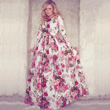 2018 Newest Long White and  Floral Party Dress Vantage O Neck Sleeve Vestidos For Women