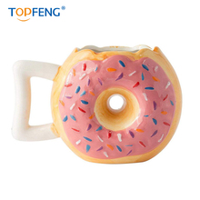 TOPFENG Ceramic Cutey Donut Coffee Mug - Delicious Pink Glaze Doughnut with Sprinkles