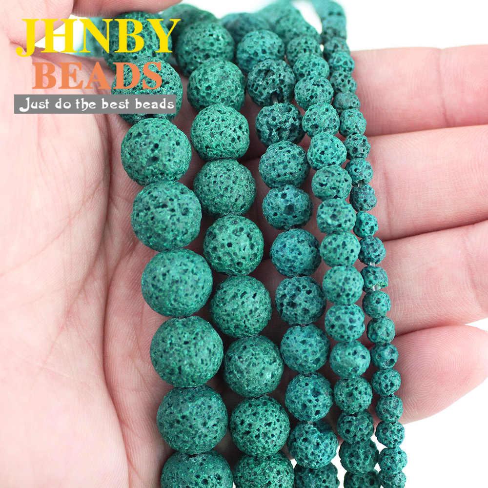 JHNBY Hight Qualität Natürliche Stein Grün Lava Perlen 4-12mm Grün Vulkangestein Perlen für Schmuck Machen Armband DIY Zubehör