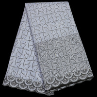Free shipping (5yards/pc) high quality African dry cotton lace fabric in white and black for men and women dress CLP74