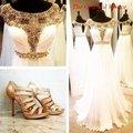 Vestidos de Blanco y Oro Desta Rebordeó Baile Vestidos Largos 2017 fotos reales de las mujeres vestidos de noche formales party dress robe de soirée