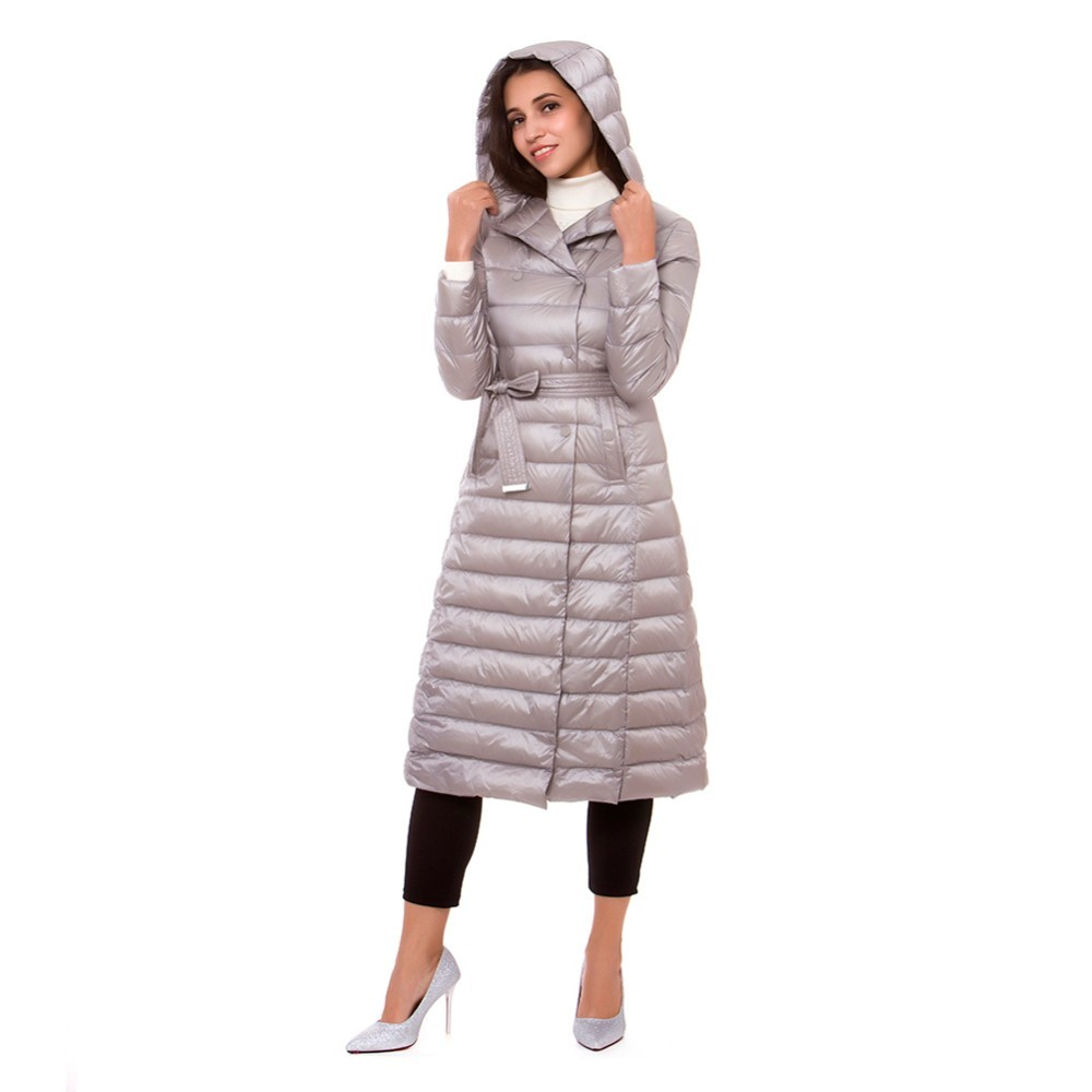 Women s Autumn Winter Down Jackets Coats Hooded X Long Over Size Double Breasted Belt Solid