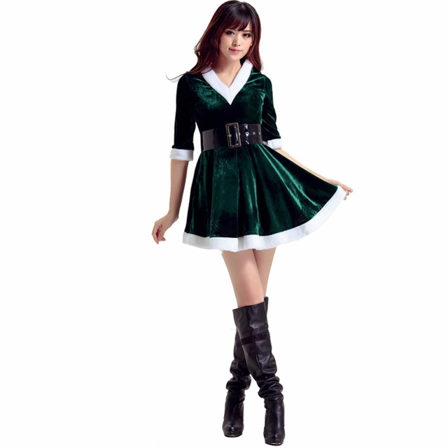 603780a1d332c Trendy Adult Women Santa Costume Adult Mrs Miss Claus Sexy Outfit Christmas  Fancy Dress Wear. 1 order