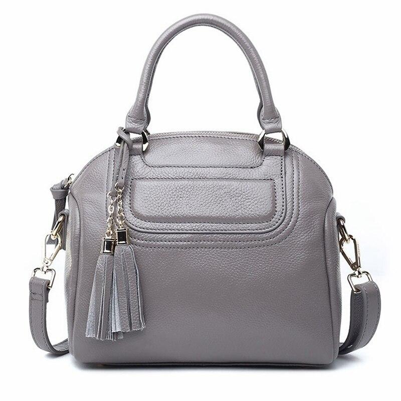 Women Handbag Genuine Leather 2017 Fashion Luxury Crossbody Shoulder Bag Solid Zipper Women Bag Vintage Tassel Lady Bag Bolsos stylish women s crossbody bag with solid