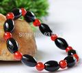 Beautiful Natural Black Rice + Red Round Agate Beads Onxy gem stone beads bracelet link stretch bracelet Fashion Girl's bangle
