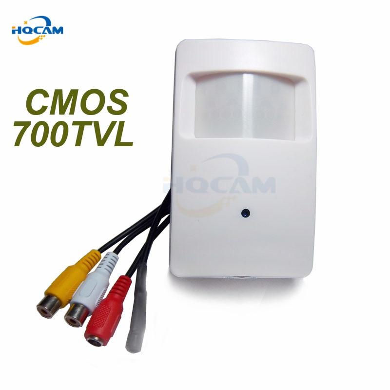 HQCAM 700TVL CCTV Caméra de sécurité CMOS Couleur 960 H Détecteur de Mouvement Intérieur CCTV Mini PIR Style Surveillance Caméra microphone