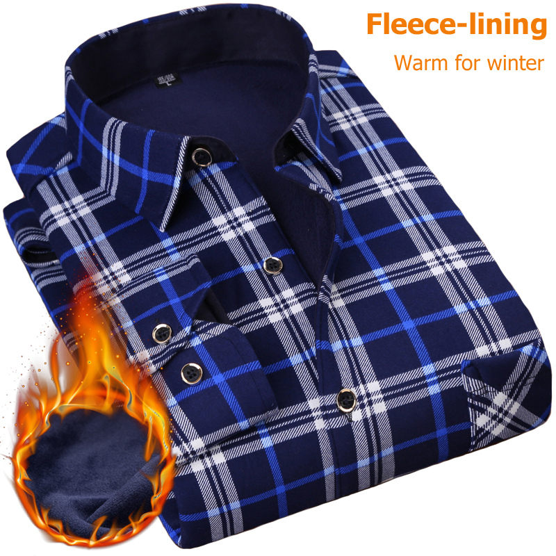 NIGRITY New Men's Long Sleeve Plaid Warm Thick Fleece Lining Shirt Fashion Soft Casual Flannel Shirt Comfortable Plus Size L-4XL