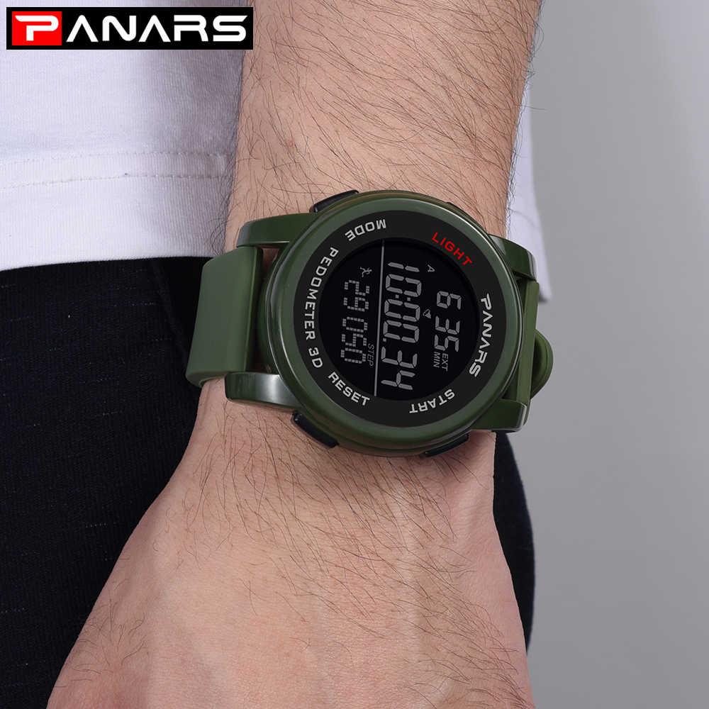 Panars LED Relógio Digital Homens Relógio Do Esporte Pedômetro Contagem Regressiva Chronos 50M Moda À Prova D' Água Relógio Militar Relogio Digital Nova