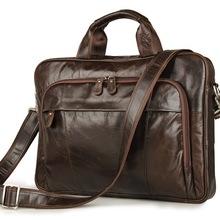 Nesitu Coffee Color Vintage Genuine Leather Men Briefcase Portfolio 14 inch Laptop Bag Messenger bags #M7334