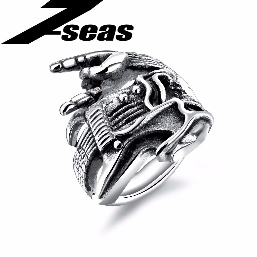 7SEAS Rock Punk 316L Stainless Steel Finger Rings For Men Vintage Cross Men Jewelry Gift Steel Color Engraving & Customized 602