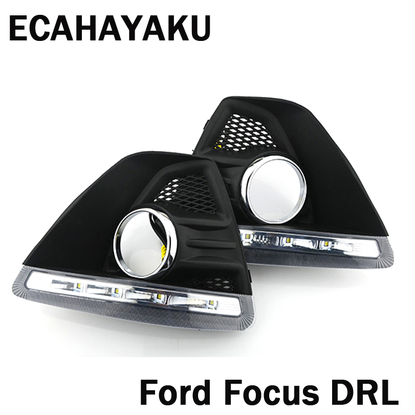 цена на Car LED DRL Daylight Daytime Running Lights Car-Styling car fog lamps Cover Driving Light For FORD FOCUS MK3 Hatchback 2009-2013