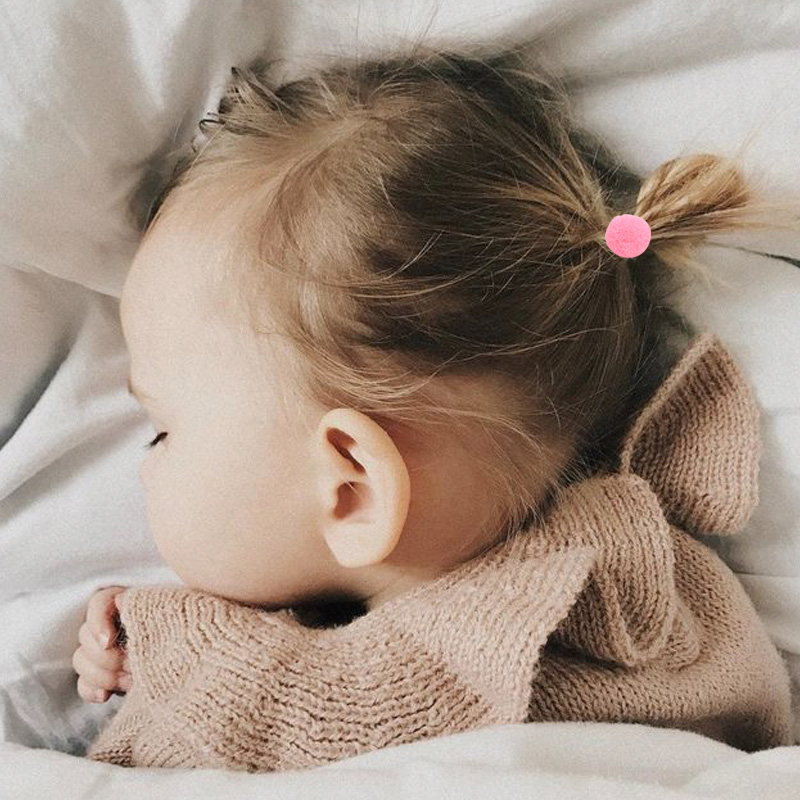 7pcs Baby Fur Balls Elastic Hair Bands Kids Girls Mini Ponytail Holder Hair Rope Children Toddler Girls Basic Hair Accessory