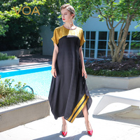 VOA 2017 Summer Casual Simple Plus Size Loose Long Maxi Dress Chinese Style Vintage Elegant Silk