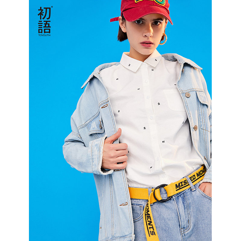 Toyouth 2019 Women Spring Blouse Casual Heart Embroidery Long Sleeve White Shirts New Arrival Female Blouses