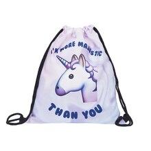 Cute Unicorn 3D Printing Women Harajuku New Drawstring Bags Women bags Travel Backpack Drawstring Bag недорого