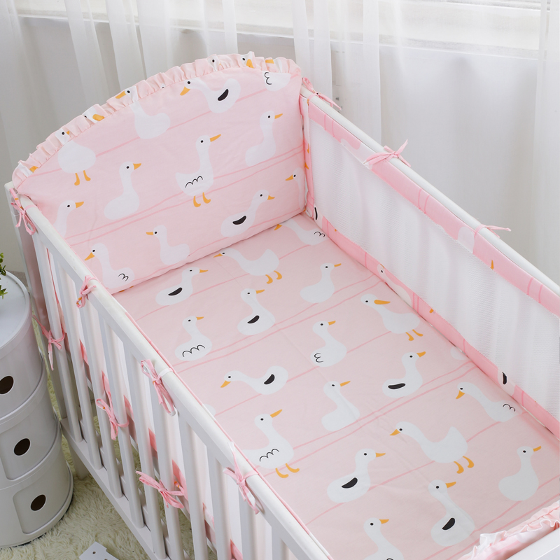 5pcs /set Kawaii Little Swan Breathable Crib Linens Air Mesh Bumpers Baby Cot Set Baby Bedding Protector Bumper Cotton Sheet