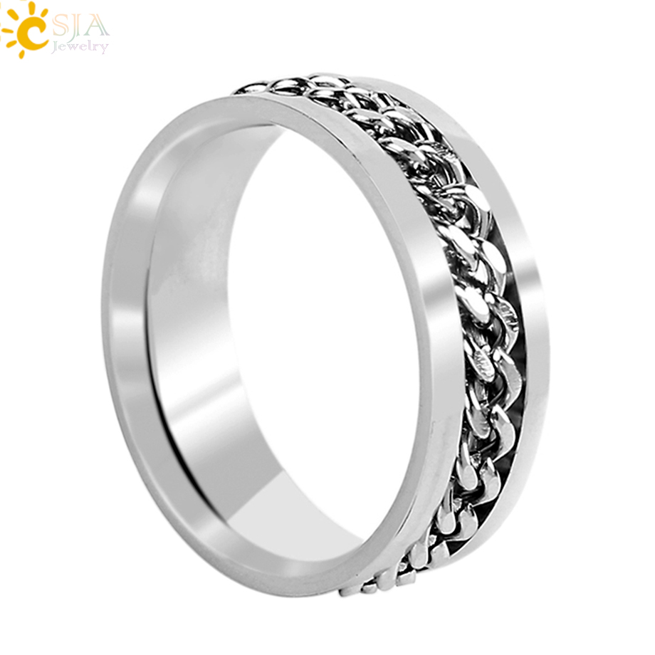 CSJA High Polished Titanium Stainless Steel Engagement Ring for Male Rotatable Inset Chain Finger Ring Wedding Band Jewelry E682