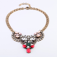 Vintage Colorful Crystal Geometric Pendant Statement Necklace For Women Antique Gold Chunky Necklace Indian Jewelry