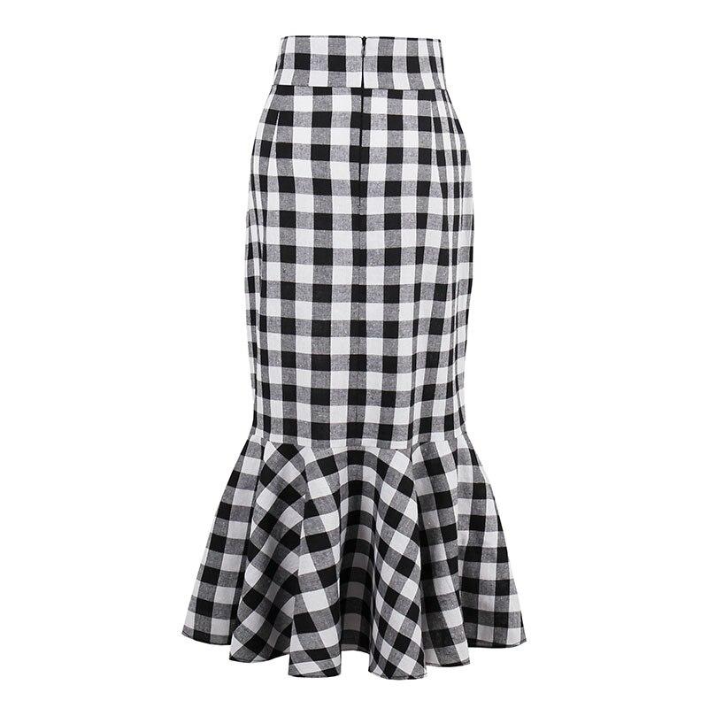 Black Plaid Ruffles Fashion Knee-Length Skirt Ladies England Style Elegant Spring Pencil Skirts Women Skirt Autumn
