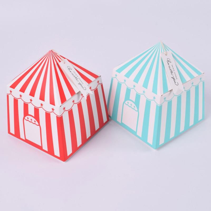 20 шт., вечерние коробки в полоску, цирк, мультфильм, палатка, бумажная коробка конфет, дети, день рождения, вечерние украшения, Подарочная кор...