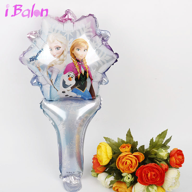 Disney Princess stick foil Balloons 50pcs elsa hand Air Baloes with bells baby shower globos Birthday Party Decorations kids