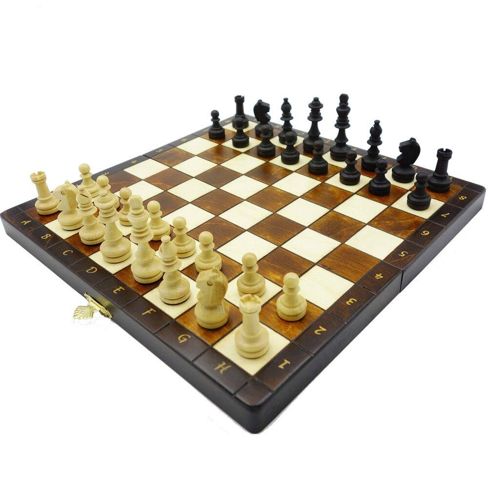 Jeu d'échecs International pliable en bois de qualité supérieure jeu de plateau pliant échiquier magnétique jeu d'échecs