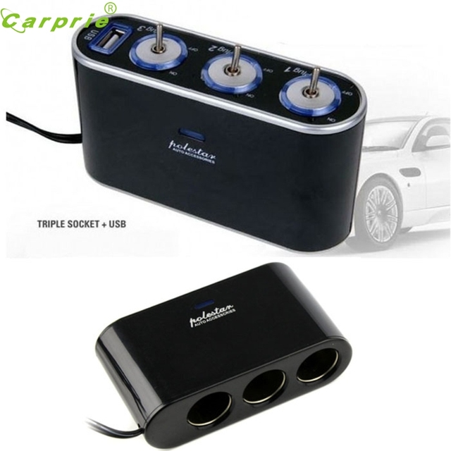 CARPRIE 3 Way Triple Car Cigarette Lighter Socket Splitter 12V24V