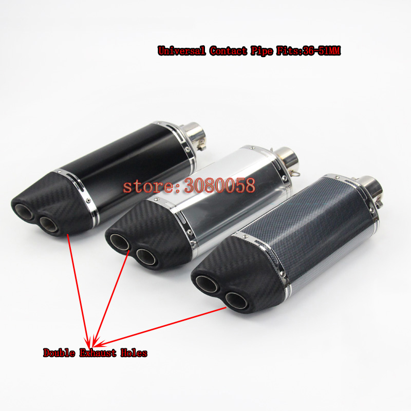 36-51mm Universal Motorcycle escape double Holes Exhaust Muffler Pipe For Z250 Z300 ER6N R6 R15 Most Motorcycle Escape